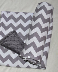 Chevron Grey & White Minky Dot  Blanket
