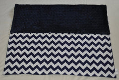 Chevron Navy & White Minky Dot  Blanket