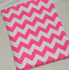 Chevron Pink & White Minky Dot  Blanket