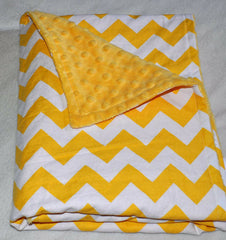 Chevron Yellow & White Minky Dot  Blanket