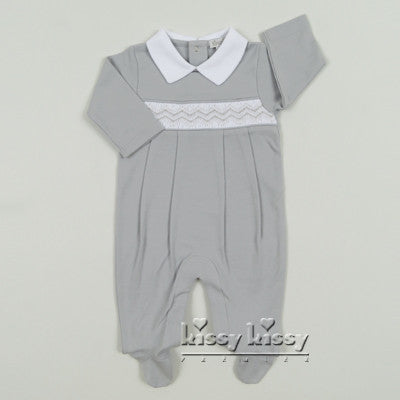 Kissy Kissy Boys Grey CLB Fall Footie w/Collar (sz NB-3/6m)