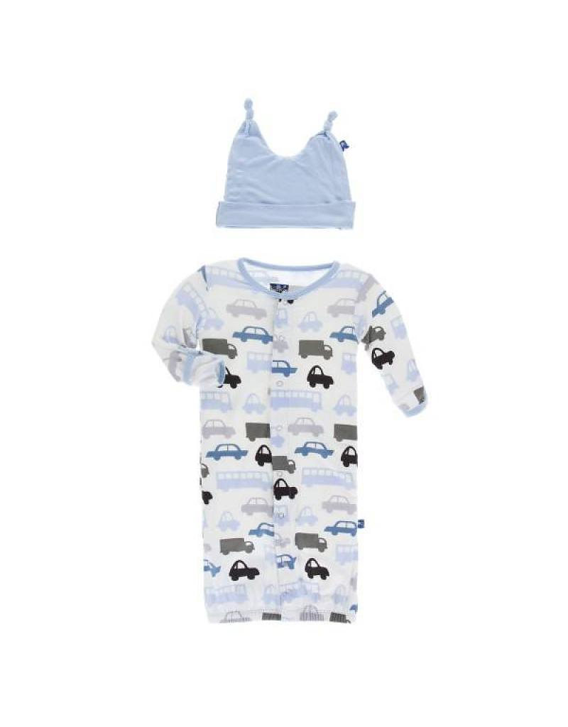 Kickee Pants Natural Cars & Trucks Convertable Gown & Hat (sz NB-0/3m)