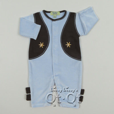 Kissy Kissy Boys Cowboys Velour Playsuit (sz 0/3m-3/6m)