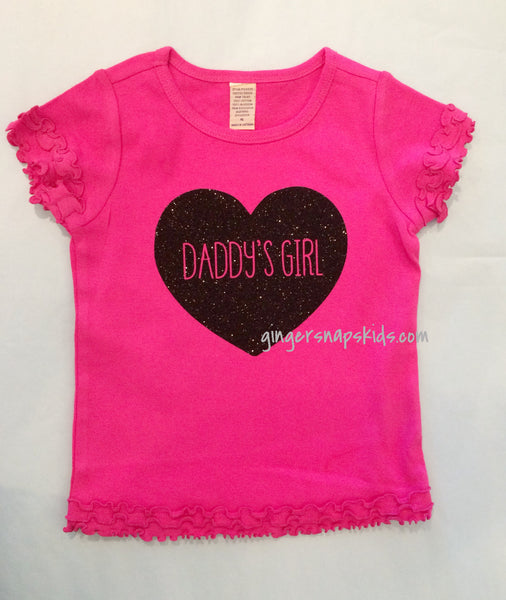 Daddy's Girl Black Sparkle Heart Short Sleeve Shirt sz 12mo- 6x
