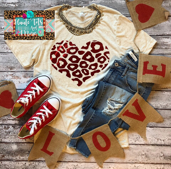 Metallic Red Leopard Heart - Kids Size  |PREORDER|