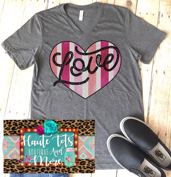 Striped Heart LOVE Tee |PREORDER|