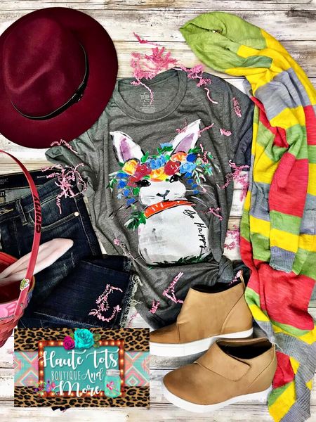 Colorful Easter Bunny Tee - Grey |PREORDER|