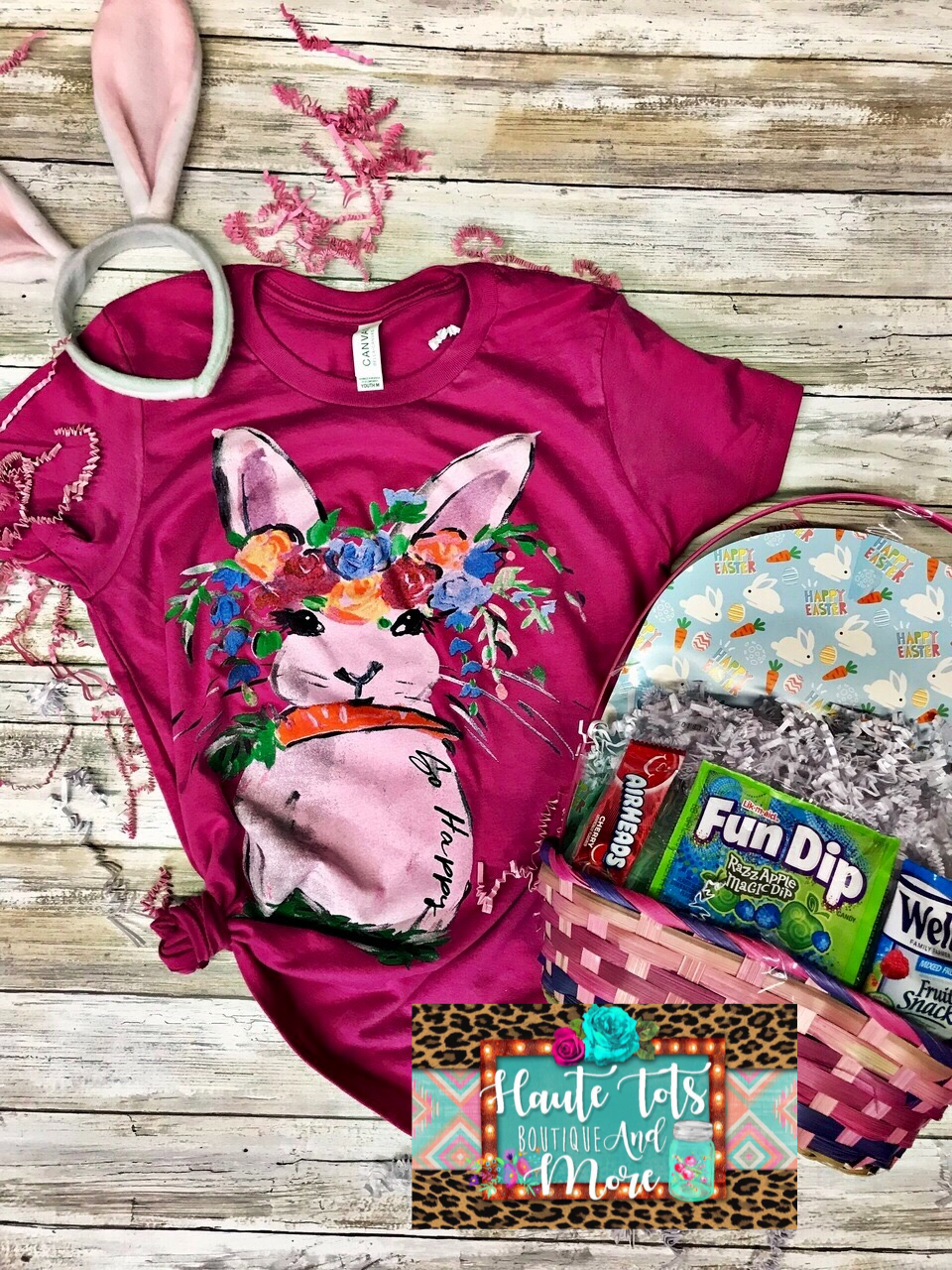 Colorful Easter Bunny Tee - Pink |PREORDER|