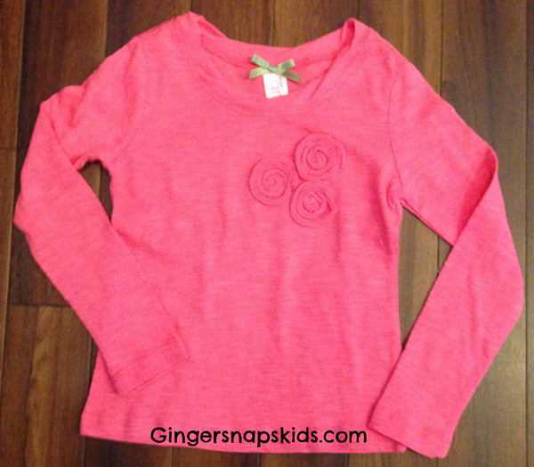 Penny Candy Punchy Pink L /S Mini Rose Tee (sz 10, 14 last ones)