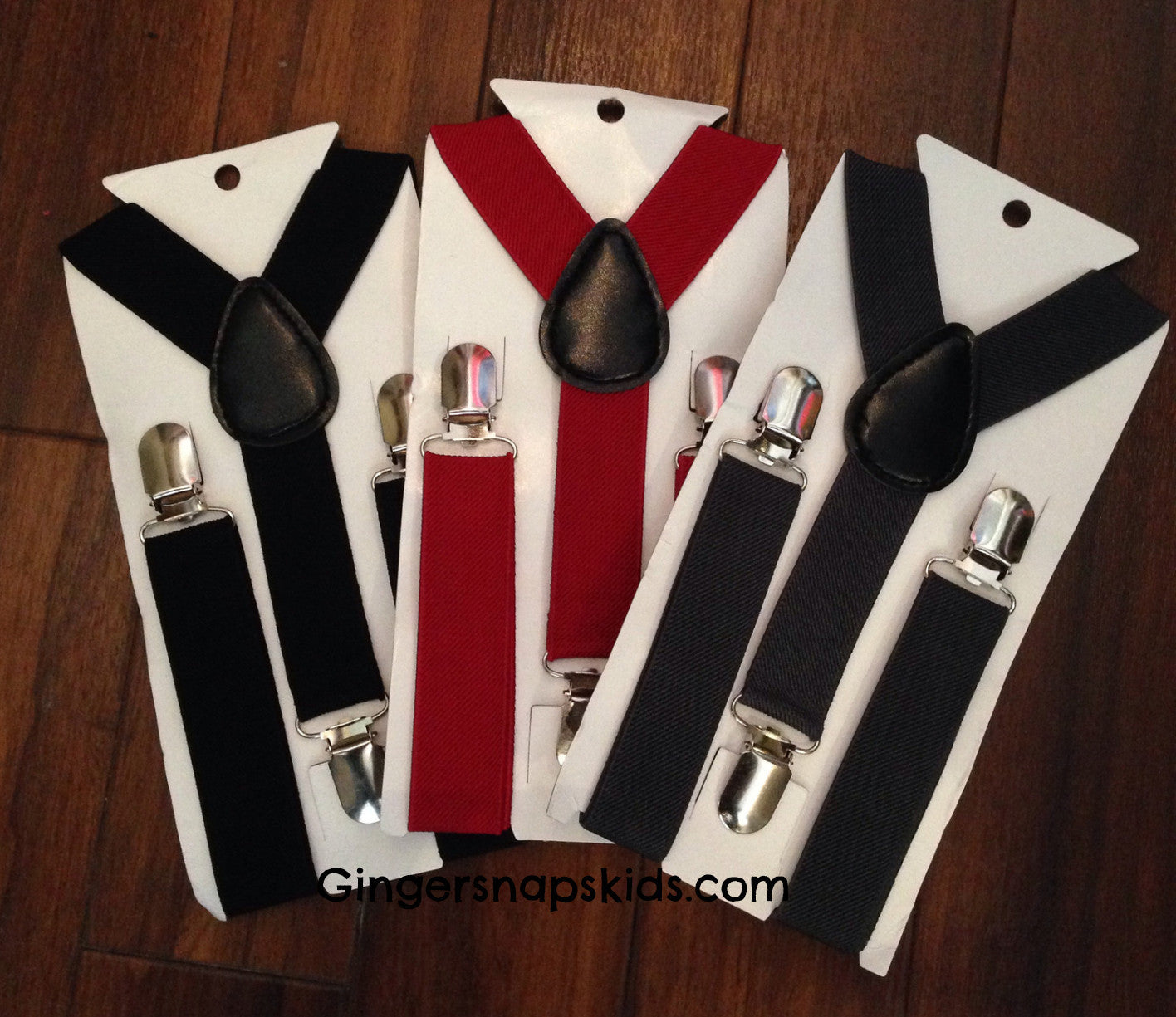 Boys Adjustable Solid Suspenders (Red, Grey Black)