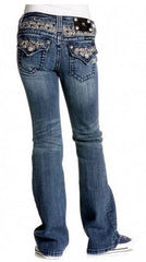 Miss Me Girls Fancy Bling Petite Fleur Denim Jeans sz. 7-14