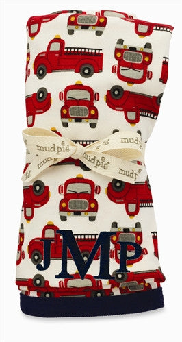 Mud Pie Fire Truck Receiving Blanket