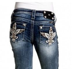 Miss Me Girls Fleur de Lis Wings Denim Capris sz. 7-14