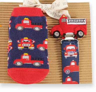 Mud Pie Fire Truck Socks & Pacy Set