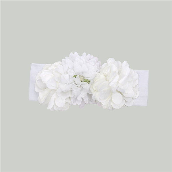 Haute Baby Ella's Bouquet All White Headband (sz INF, TOD) SPRING 2016 PREORDER
