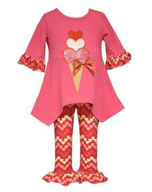 Ice Cream Heart Leggings Set (sz 4 last one)