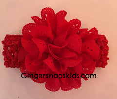 Eyelet Flower Crochet Headband (many colors)