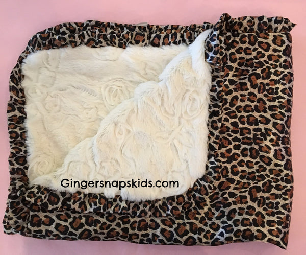 Cach Cach Leopard Satin Ruffle Edge and Cream Fur Blanket