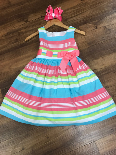 Stripes Linen Spring Dress (sz 4-6x)