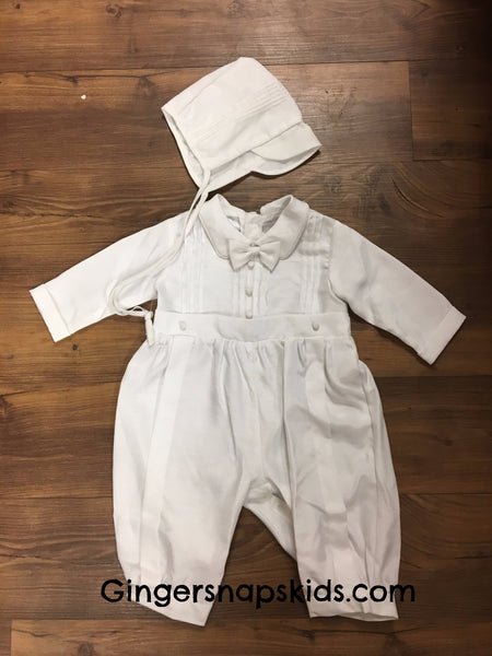 Boy's 1pc Christening/Baptism Romper & Hat Set (sz. 6-12m)