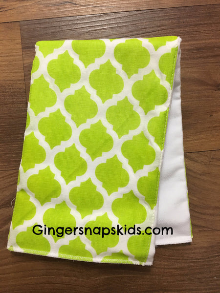 Mud Pie Lime Print Burp Cloth