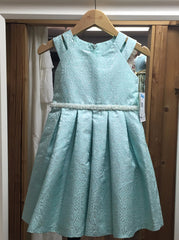 Mint Metallic Dress with Pearl Beaded Belt (sz 4-6X)