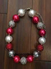 Sparkle Red/Silver Chunky Necklace