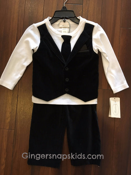 Miniclasix Boys Black Velvet Pin Stripe Pants 2pc Set (sz 12m, 18m)