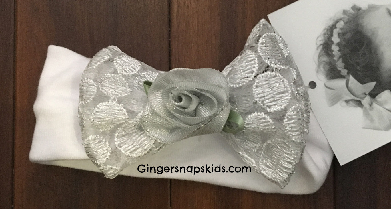 Bebemonde Girls Precious Metals Silver/White Headband