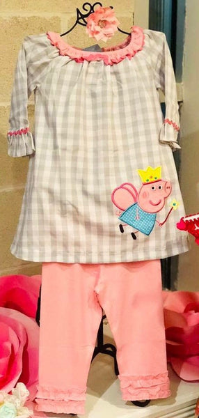 Three Sisters Clothes When Pigs Fly Applique Legging Set