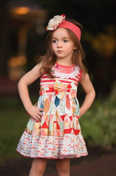 She Bloom Caroline Coral Party Dress (sz 12m-4T)