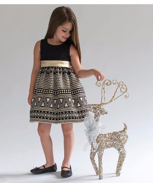 Gold & Black Sequined Dress w/Jacquard Skirt (sz 4-6X)
