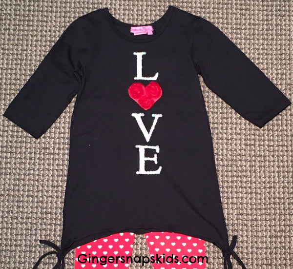 Haven Girl Valentine Black 3/4 Sleeve Alison Tunic (sz 5 last one)