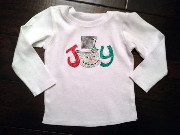 Joy Snowman Bling Personalized Long Sleeve Shirt sz 6m-12