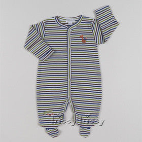 Kissy Kissy Boys Jungle Rumble Stripe Footie (sz NB-3/6m)