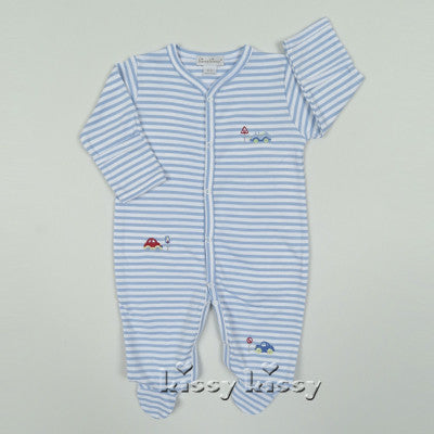 Kissy Kissy Boys Summer Wheels Stripe Footie (sz NB-3/6m)