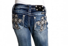 Miss Me Rhinestone Cross Pocket Capri (sz 7-14)