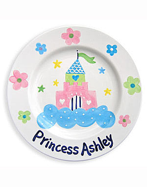 Girls Personalized Castle  Princess Ceramic Plate