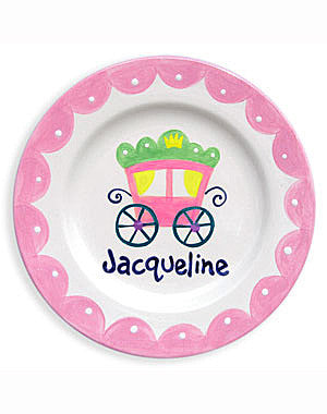 Girls Personalized Princess Coach Ceramic Plate
