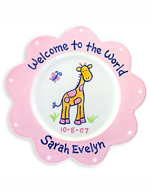 Newborn Baby Girl Personalized Ceramic Plate  sc 1 st  Gingersnaps Kids! : personalized ceramic plate - pezcame.com