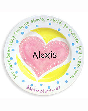 Girls Heart Baptism Personalized  Ceramic Plate