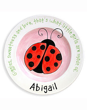 Girls Ladybug Personalized  Ceramic Plate