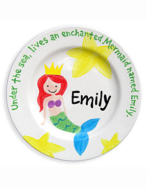 Girls Mermaid Personalized  Ceramic Plate