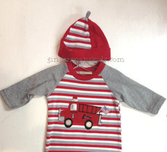Cach Cach Red Firetruck Trucks & Ladders Boys Hat/Cap sz 0-3mo