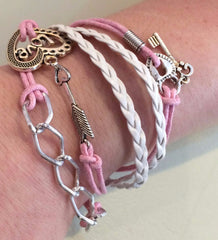 Pink and White Multi-Strand Adjustable Bracelet