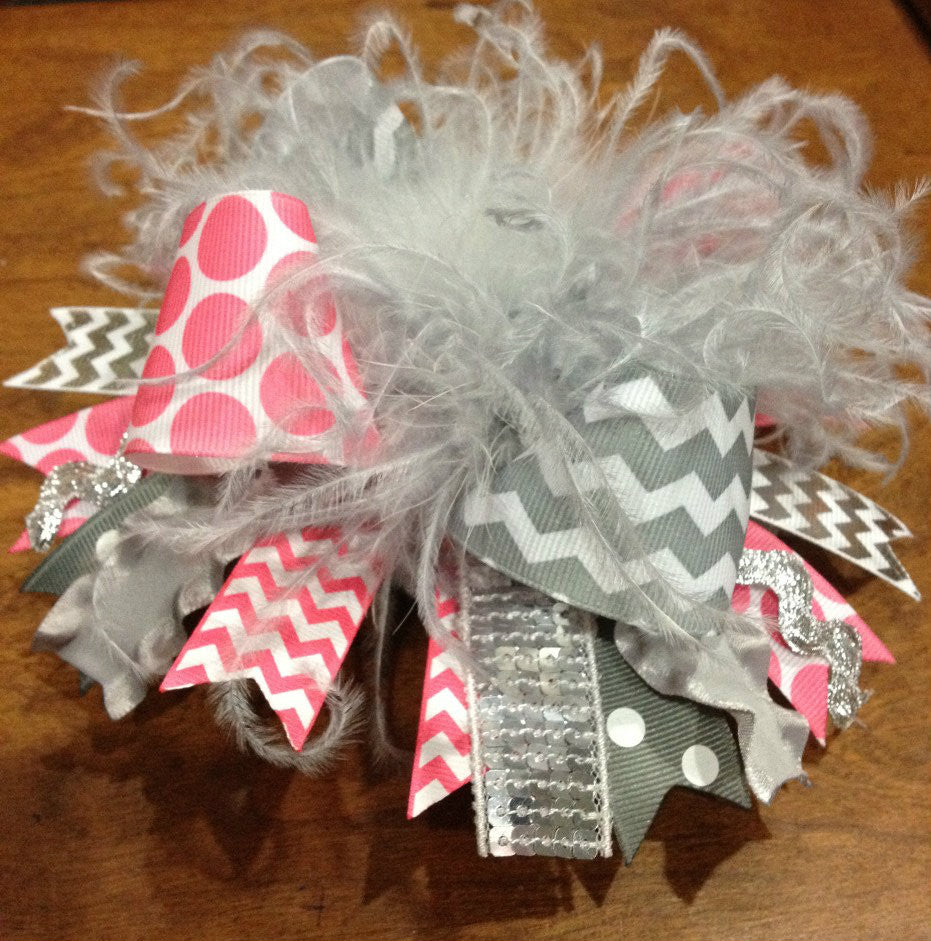 Grey & Pink Chevron Over the Top Hairbow Headband