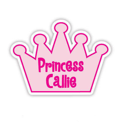 Set of 24 Die Cut Pink Princess Crown Waterproof Name Labels