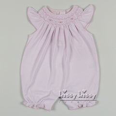 Kissy Kissy Summer Bishop Pink Smocked Short Playsuit (sz 3/6mo last 1)