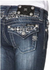 Miss Me Girls Skinny Sequin Flap Pocket Denim Jeans sz. 7-14