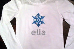 Glitter Snowflake Personalized Long Sleeve Shirt sz 6m-12